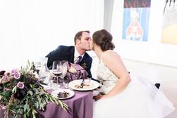 Emma Lea Floral - Purple Summer Events- Kristen Pierson Photography- Space Gallery Denver Colorado Wedding | Sweetheart Table | Purple | Rose | Bay | Olive | Eucalyptus |