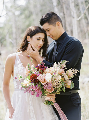 Wild Canyon Ranch Intimate Wedding - Emma Lea Floral- The Styled Soiree- Alison Epps Photography- Wild Canyon Ranch- Kim J Beauty- Blue Bridal Boutique- Amy Zhang Creative - Colorado Wedding Draping- Denver Colorado Fine Art Floral Design - Luxury Wedding and Event Florist - Lilac   Astilbe    Garden Rose   Pansies   Foxglove   Huchera   Ranunculus   Purple, Red, Peach, Gold, Blush, Mauve   Mountain Wedding  