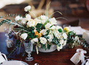Emma Lea Floral- The Styled Soiree- Carrie King Photography- Wild Canyon Ranch Winter Wedding | Garden Rose | Eucalyptus | Tulip | Ranunculus | Green, White, Gold | Groom | Bride | Centerpiece |