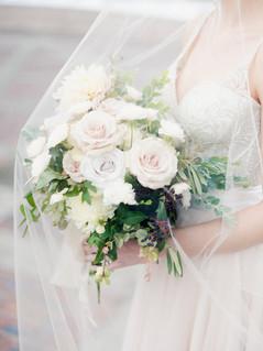 Emma Lea Floral- The Styled Soiree- Decorus Photography- Denver Civic Center Elopement | Rose | Garden Rose | Navy Berry | Blush, Ivory, Lavender | Greenery | Bouquet | Bride | Groom | Veil |