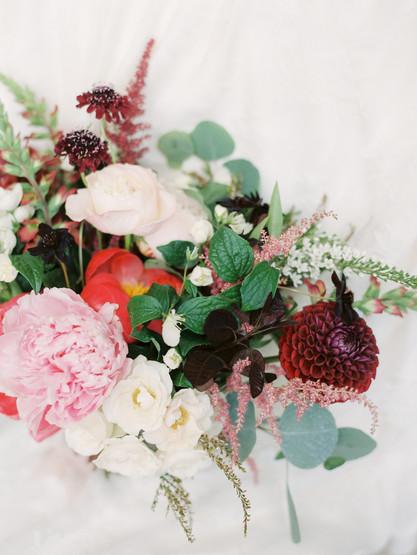 Emma Lea Floral - Connie Whitlock- Della Terra Wedding- Colorado | Peony| Dahlia| Garden Rose| Scabiosa| Bridal Bouquet | Pink, Burgundy, Blush|