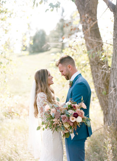 Emma Lea Floral - Cassidy Brooke Photography- Spruce Mountain Ranch - Wedding Denver Colorado Fine Art Floral Design - Wedding and Event Florist |Blush Pink, Burgundy, Mauve, Bridal Bouquet | Garden Rose | Lisianthus | Dahlia | Ranunculus | Eucalyptusc | Astilbe | First Look |