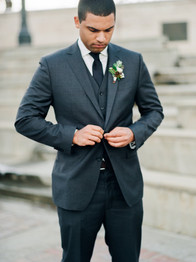 Emma Lea Floral- The Styled Soiree- Decorus Photography- Denver Civic Center Elopement | Rose | Garden Rose | Navy Berry | Blush, Ivory, Lavender | Greenery | Boutonniere | Groom |