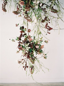 Emma Lea Floral- The Sentient Workshop- Carrie King Photography | Hellebore | Tulip | Garden Rose | Ranunculus | Spirea | Cream, Mauve, Antique Purple, Burgundy | Hanging Floral Installation |