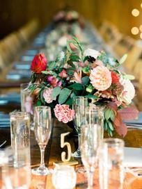 Emma Lea Floral- Purple Summer Events- Tara Bielecki Photography- Lyons Farmette Colorado Wedding  | Lush Floral Centerpiece | Late Summer Color Palette | Mauve, Burgundy, Pink, Orange | Dahlia | Garden Rose |