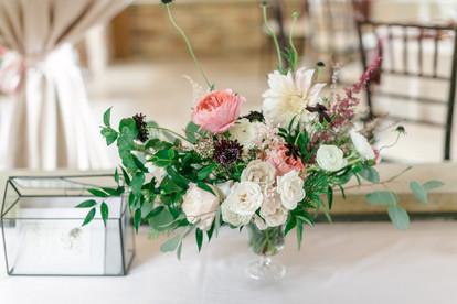 Emma Lea Floral - Connie Whitlock- Della Terra Wedding- Colorado  | Floral Arrangement | Peony | Scabiosa | Garden Rose | Spray Rose |