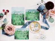 Emma Lea Floral- The Styled Soiree- Sara Lynn Photography- Devils Thumb Ranch Colorado Wedding  |  Mountain Invitations | Flatlay | Garden Rose | Mrs. Box | Burgundy, Blue, Blush |