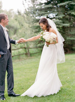 Emma Lea Floral- Purple Summer Events- Lisa O'dwyer Photography- Boulder Private Estate Colorado Wedding  | Bridal Bouquet | White and Lavender | Peony | Garden Rose | Clematis | Scabiosa | First Look | Bride and Groom |
