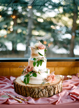 Emma Lea Floral - Cassidy Brooke Photography- Spruce Mountain Ranch Wedding - Denver Colorado Fine Art Floral Design - Wedding and Event Florist | Three-Tiered Wedding Cake | Cake Flowers | Greenery | Mauve | Blush | White |