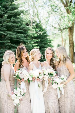 Emma Lea Floral- The Styled Soiree- Maribeth Photography- Buena Vista Colorado Wedding  | Bridal Party | Bridesmaid Bouquet | Bridal Bouquet | White, Blush, Mauve | Peony | Garden Rose | Spray Rose | Clematis |
