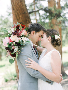 Emma Lea Floral - Connie Whitlock- Della Terra Wedding- Colorado | Peony| Dahlia| Garden Rose| Scabiosa| Bridal Bouquet | Pink, Burgundy, Blush| Bride & Groom