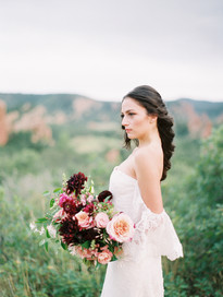 Red Rocks Editorial - Emma Lea Floral- Grit & Gold Event CO- Allen Tsai Photography- Brittany Jones Beauty- Vene Ai Bridal Design Studio- Denver Colorado Fine Art Floral Design - Luxury Wedding and Event Florist - Red Rocks  | Garden Rose | Dahlia | Cosmos | Snapdragon | Jasmine | Pink, Peach, Fuchsia, Burgundy | Bridal Bouquet |