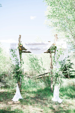 Emma Lea Floral- The Styled Soiree- Maribeth Photography- Buena Vista Colorado Wedding  | Ceremony Arch | Chiffon | Greenery | Aspen Grove |