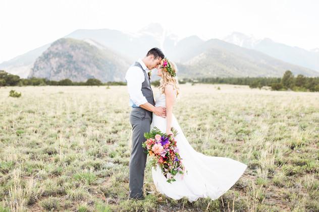 Emma Lea Floral- Sarah Jayne Photography- Mt. Princeton Colorado Wedding | Peony | Ranunculus | Tulip | Foxglove | Clematis | Pink, Purple, Peach, Burgundy | Bridal Bouquet | Mountain Wedding |  Flower Crown | Groom |