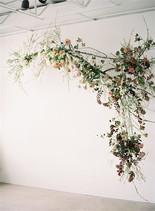Emma Lea Floral- The Sentient Workshop- Carrie King Photography   Hellebore   Tulip   Garden Rose   Ranunculus   Spirea   Cream, Mauve, Antique Purple, Burgundy   Hanging Floral Installation  