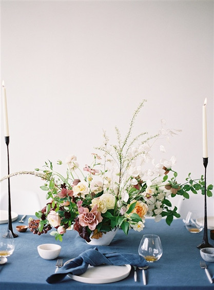 Emma Lea Floral- The Sentient Workshop- Carrie King Photography | Hellebore | Tulip | Garden Rose | Ranunculus | Spirea | Cream, Mauve, Antique Purple, Burgundy | Centerpiece |