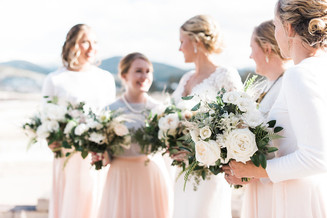 Emma Lea Floral- Purple Summer Events- Kristen Pierson Photography- Devils Thumb Ranch Colorado Wedding     Bridal Party   Bridesmaids   Pink Skirts   White Sweaters   White Flowers and Greenery Bouquets   Mountain Wedding   Garden Rose   Eucalyptus   Pampas Grass  