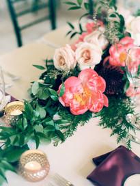 Emma Lea Floral - Connie Whitlock- Della Terra Wedding- Colorado  | Peony | Garden Rose | Ruscus | Dahlia | Pink, Burgundy, Blush | Floral Runner |