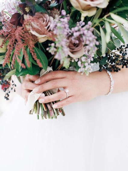 Emma Lea Floral - Purple Summer Events- Kristen Pierson Photography- Space Gallery Denver Colorado Wedding| Lilac | Hellebore | Olive | Bay | Sweetpea | Astrantia | Rose | Purple, Lavender, Mauve, Burgundy | Bridal Bouquet |