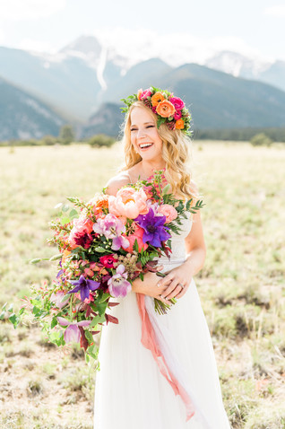 Emma Lea Floral- Sarah Jayne Photography- Mt. Princeton Colorado Wedding | Peony | Ranunculus | Tulip | Foxglove | Clematis | Pink, Purple, Peach, Burgundy | Bridal Bouquet | Mountain Wedding |  Flower Crown |