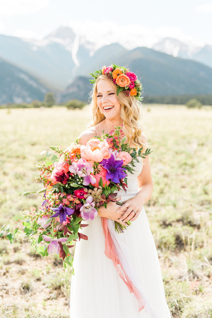 Emma Lea Floral- Sarah Jayne Photography- Mt. Princeton Colorado Wedding | Peony | Ranunculus | Tulip | Foxglove | Clematis | Pink, Purple, Peach, Burgundy | Bridal Bouquet | Mountain Wedding |  Flower Crown |