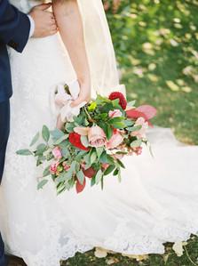 Alex & JoshEmma Lea Floral- Purple Summer Events- Tara Bielecki Photography- Lyons Farmette Colorado Wedding  | Blush, Peach, Pink, Mauve, Burgundy | Garden Rose | Dahlia | Bridal Bouquet |