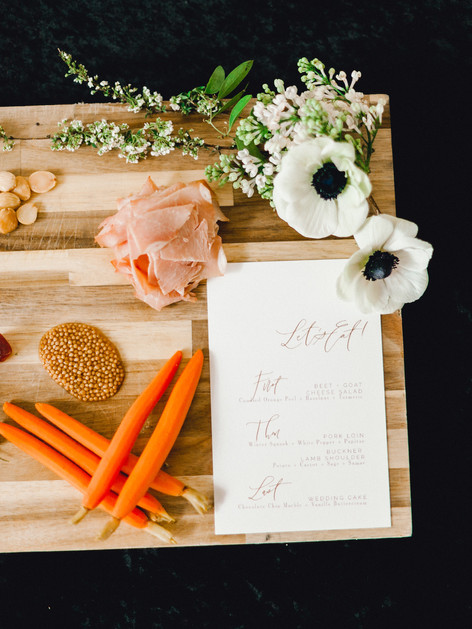 Emma Lea Floral- Sara Brown Weddings- Sara Lynn Photography- Stefanie Hofmeister Lettering & Design- Hotel Teatro | Denver Colorado Fine Art Floral Design - Wedding and Event Florist | Cocktail Hour | Modern Caligraphy | Menu | Meat & Cheese Board | Couture Colorado |