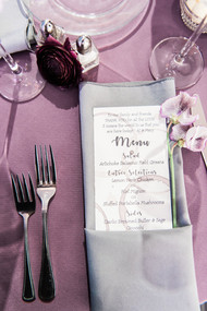 Emma Lea Floral - Purple Summer Events- Kristen Pierson Photography- Space Gallery Denver Colorado Wedding | Wine Themed Wedding | Purple | Sweetpea | Menu Placesetting |