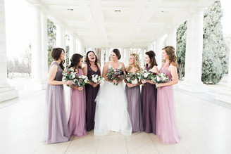 Emma Lea Floral - Purple Summer Events- Kristen Pierson Photography- Space Gallery Denver Colorado Wedding | Lilac | Hellebore | Olive | Bay | Sweetpea | Astrantia | Rose | Purple, Lavender, Mauve, Burgundy | Bridal Party | Bouquets |