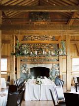 Emma Lea Floral- The Styled Soiree- Sara Lynn Photography- Devils Thumb Ranch Colorado Wedding  | Greenery and Floral Garland | Hanging Greenery and Candle Installation | Portuguese Blue Tile  Head Table | Mountain Wedding |