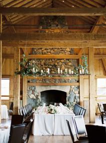Emma Lea Floral- The Styled Soiree- Sara Lynn Photography- Devils Thumb Ranch Colorado Wedding  | Greenery and Floral Garland | Hanging Greenery and Candle Installation | Portuguese Blue Tile  Head Table | Mountain Wedding |