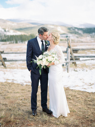 Emma Lea Floral- Purple Summer Events- Kristen Pierson Photography- Devils Thumb Ranch Colorado Wedding  | Greenery With White Flowers | Eucalyptus | Sword Fern | Garden Rose | Ranunculus | Spray Rose | Pampas Grass | Mountain Wedding | Bridal Bouquet | First Look | Bride & Groom |