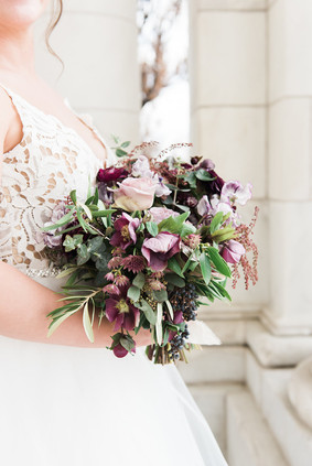 Emma Lea Floral - Purple Summer Events- Kristen Pierson Photography- Space Gallery Denver Colorado Wedding| Lilac | Hellebore | Olive | Bay | Sweetpea | Astrantia | Rose | Purple, Lavender, Mauve, Burgundy | Bridal Bouquet |