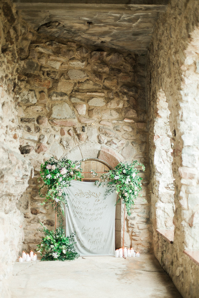 Emma Lea Floral- The Styled Soiree- Sara Lynn Photography- Cherokee Ranch And Castle Wedding | Denver Colorado Fine Art Floral Design - Wedding and Event Florist | Spirea | Clematis | Garden Rose | Jasmine | Garden Style | Greenery | White | Backdrop | Arch | Hand Lettering | Ceremony |
