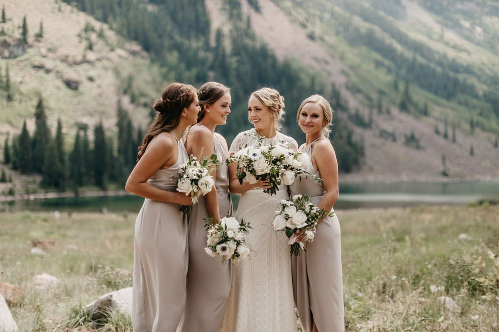 Mallory & David Aspen Elopement - Emma Lea Floral- Our Two Hearts Photography - Maroon Bells - Aspen Wedding - Denver Colorado Fine Art Floral Design - Luxury Wedding and Event Florist - Anemone | Rose  | Astrantia | Hops | Jasmine | White, Ivory, Navy | Mountain Wedding | Organic | Bridal Party | Bridesmaids |