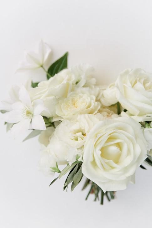 Emma Lea Floral- Purple Summer Events- Callie Hobbs Photography- Devils Thumb Ranch Colorado Wedding | White Bridal Bouquet | Garden Rose | Rose | Clematis |