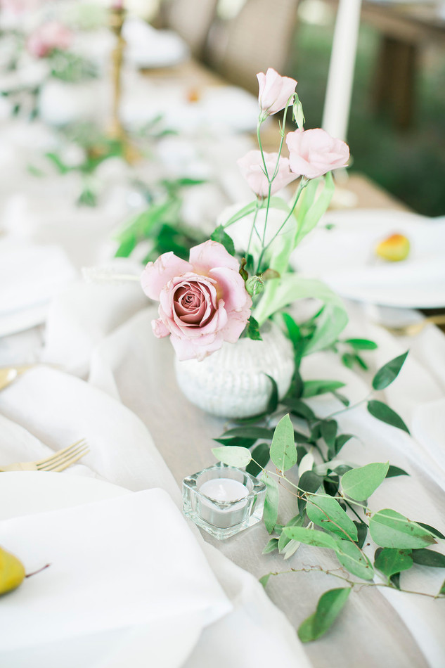Emma Lea Floral- The Styled Soiree- Maribeth Photography- Buena Vista Colorado Wedding | Taper Candles | Pear | Smilax | Airy Greenery Garland | White | Blush | Mauve | Chiffon Runner | Blueberry  | Garden Rose | Lisianthus |