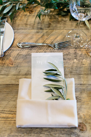 Emma Lea Floral- Purple Summer Events- Callie Hobbs Photography- Devils Thumb Ranch Colorado Wedding  | Olive Sprig Napkin Treatment | Place Setting |