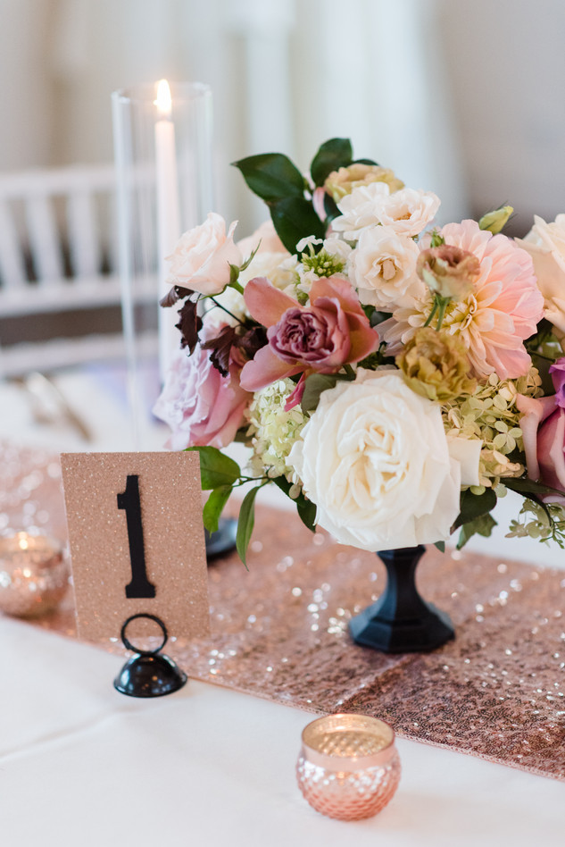 Emma Lea Floral- Candice Benjamin Photography- Denver Colorado Fine Art Floral Design - Luxury Wedding and Event Florist - The Manor House  | Garden Rose | Antique Hydrangea | Lisianthus | Dahlia | Lavender, Antique Purple, Mauve, Pink, Blush | Lush Floral Centerpiece | Footed Floral Arrangement |