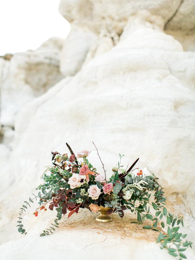 Emma Lea Floral- Avenue One Photography- KLP Video Productions- Colorado Paint Mines Elopement | Denver Colorado Fine Art Floral Design - Wedding and Event Florist | Lush Floral Centerpiece | Garden Rose | Chocolate Cosmo | Eucaluptus | Acacia | Mauve, Blush, Burgundy, Pale Blue |