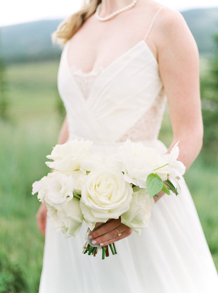 Emma Lea Floral- Purple Summer Events- Callie Hobbs Photography- Devils Thumb Ranch Colorado Wedding | White Bridal Bouquet | Garden Rose | Rose | Clematis |