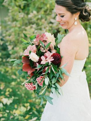 Emma Lea Floral- Purple Summer Events- Tara Bielecki Photography- Lyons Farmette Colorado Wedding  | Blush, Peach, Pink, Mauve, Burgundy | Garden Rose | Dahlia | Bridal Bouquet |