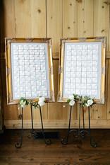 Emma Lea Floral- Purple Summer Events- Callie Hobbs Photography- Devils Thumb Ranch Colorado Wedding | Escort Card Display | Gold Frames | Legos | Watercolor | Whimsey Design Studio |