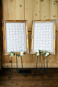 Emma Lea Floral- Purple Summer Events- Callie Hobbs Photography- Devils Thumb Ranch Colorado Wedding | Escort Card Display | Gold Frames | Legos | Watercolor | Whimsey Design Studio |