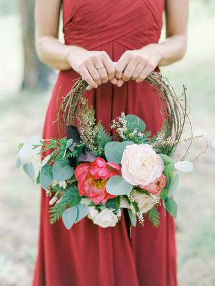 Emma Lea Floral - Connie Whitlock- Della Terra Wedding- Colorado | Bridesmaid | Floral Wreath | Eucalyptus | Peony | Garden Rose | Burgundy, Pink , Blush |