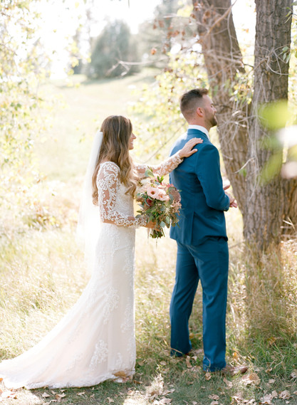 Emma Lea Floral - Cassidy Brooke Photography- Spruce Mountain Ranch Wedding - Denver Colorado Fine Art Floral Design - Wedding and Event Florist | First Look | Bridal Bouquet | Groom Navy Suit |