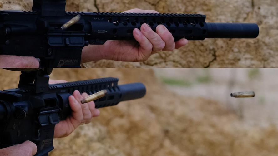 "Patriot™ Defender-LE on 10.5"" SBR - Minimal blow-back even in full-auto"