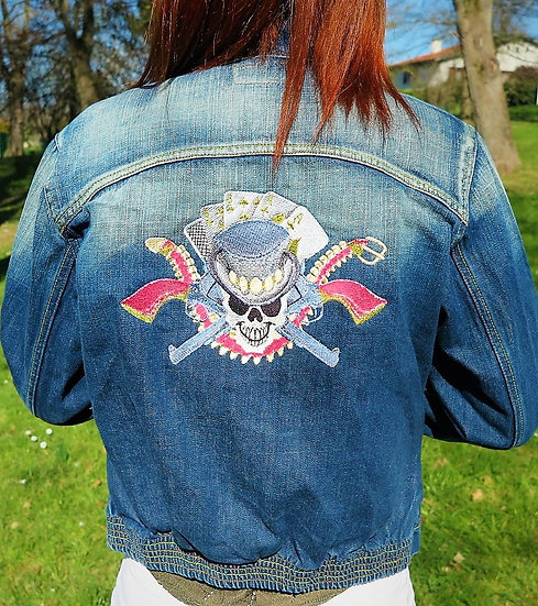 Veste en jeans vintage customisée T40