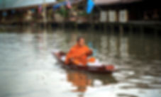 Bhuddist Monk in Boat