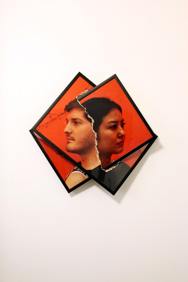 collision of frames (man and woman)